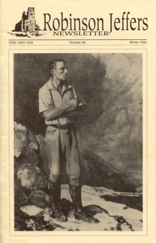 Jeffers on cover of Robinson Jeffers Newsletter, issue 89.